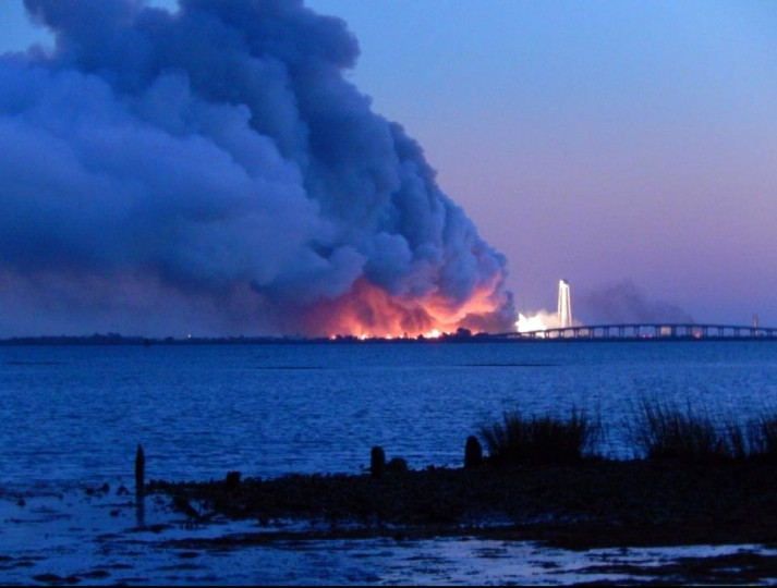 The Orbital Sciences Corp.'s Antares rocket and Cygnus cargo spacecraft explodes after launch at Wallops Island, VA at 6:22 p.m. ET. It was set to carry some 5,000 pounds of supplies and experiments to the International Space Station. (Eduardo Encina, Baltimore Sun)