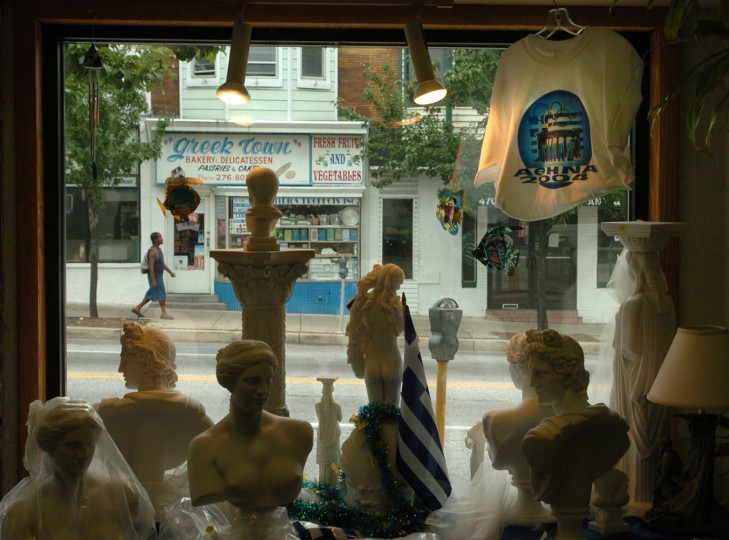 8/11/04: Eastern Ave pictured out the window of Kentrikon, a gift store on Eastern Ave. (Lloyd Fox/Baltimore Sun)
