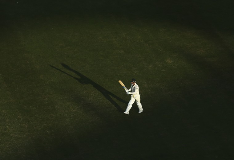 Michael Clarke of Australia walks out to bat during Day Four of the First Test between Pakistan and Australia at Dubai International Stadium in Dubai, United Arab Emirates. (Ryan Pierse/Getty Images)
