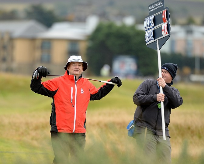 Bill Murray on the fifth fairway during the third round of the 2014 Alfred Dunhill Links Championship at The Old Course in St Andrews, Scotland. (Ross Kinnaird/Getty Images)