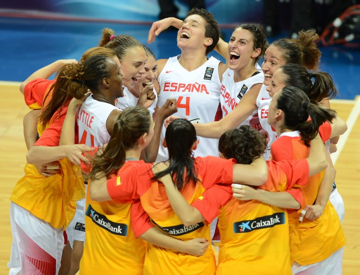 Spanish players celebrate their win against Turkey in the 2014 FIBA Women's World Championships Semi Final basketball match at Fenerbahce Ulker Sports Arena in Istanbul, Turkey. (Stringer/Getty Images)