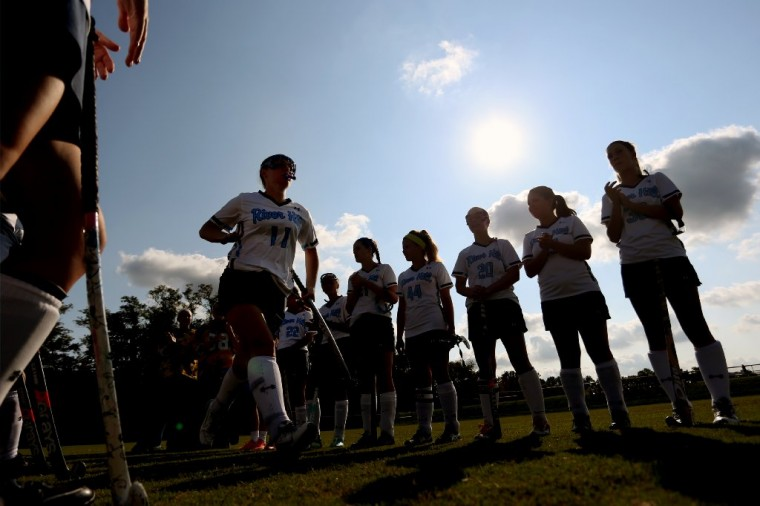 River Hill's Ally Stull is introduced before a girls field hockey game against Centennial at River Hill High School