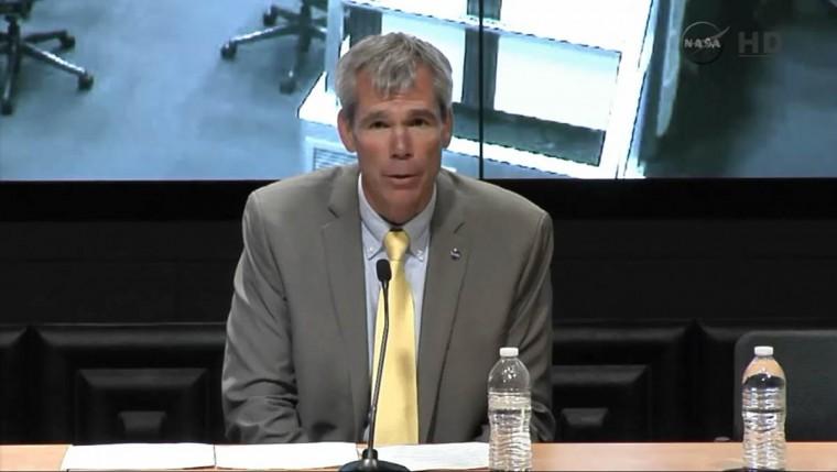 Bill Wrobel, director of NASA's Wallops Flight Facility, speaks at a news conference in this still image from NASA TV at Wallops Flight Facility, Virginia. (Reuters photo/NASA TV)