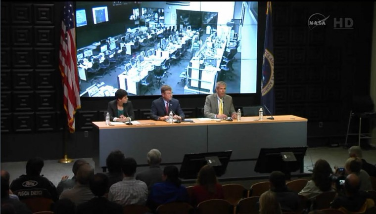 Rachel Kraft, NASA spokewoman, Frank Culbertson, Executive Vice President and General Manager of Advanced Programs Group at Orbital Sciences Corp., and Bill Wrobel, director of NASA's Wallops Flight Facility, speak at a news conference in this still image from NASA TV at Wallops Flight Facility, Virginia. (Reuters photo/NASA TV)