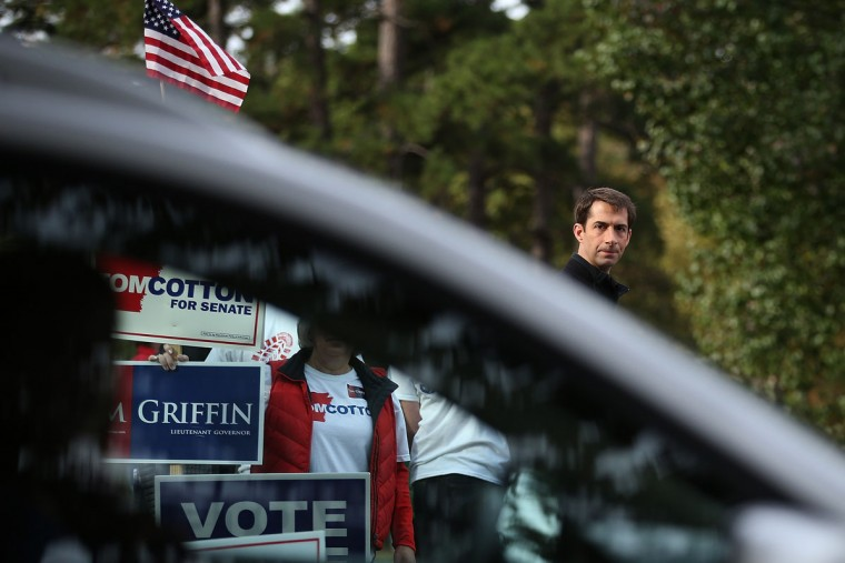U.S. Rep. Tom Cotton (R-AR) and republican candidate for U.S. Senate in Arkansas waves to people entering a polling place on November 4, 2014 in Little Rock, Arkansas. As voters head to the polls, U.S. Rep. Tom Cotton (R-AR) is holding a narrow lead over incumbent U.S. Sen. Mark Pryor (D-AR). (Justin Sullivan/Getty Images)