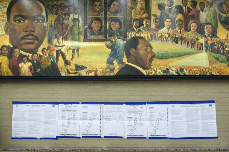 Sample ballots are seen at the Martin Luther King Library on November 4, 2014 in Washington, DC. Voters around the United States went to the poles to vote in the 2014 interim election. (Brendan Smialowski/AFP/Getty Images)