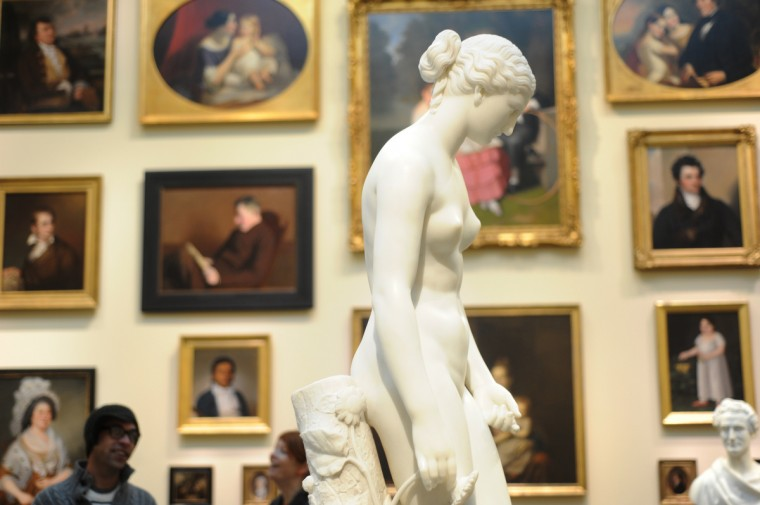 The marble statue of Clytie (1872) by William Henry Rinehart, born in Union Bridge, MD in 1825, is featured in the Maryland, My Maryland exhibit space in the American Wing. Rinehart died in Rome in 1874. (Algerina Perna/Baltimore Sun)