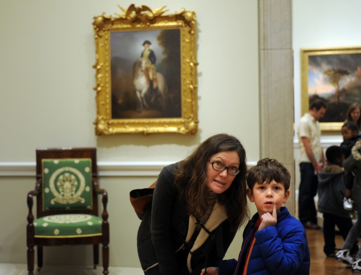 Marisa O'Connor and her son, Sammy Lavinger, 6, from Baltimore, look at the artwork in the American Wing. (Algerina Perna/Baltimore Sun)