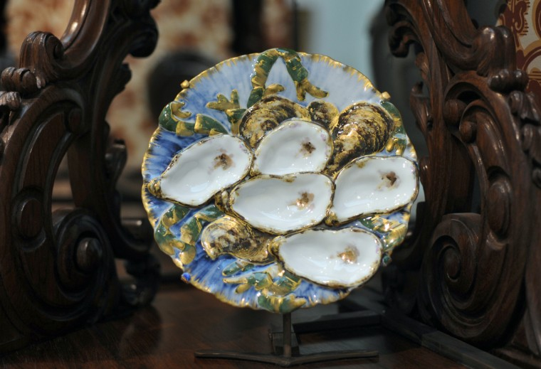 "The porcelain oyster plate designed by Theodore Russell Davis is part of a set of china created for President Rutherford Hayes between 1879-1880. Each plate is different and depicts, ""habitats across the United States..."" (Algerina Perna/Baltimore Sun)"