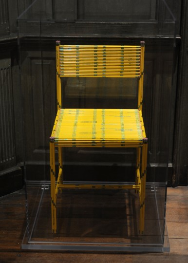 "The ""50 Dozen"" Chair designed by Jeremy Alden in 2005 is made of 600 Dixon Ticonderoga #2 pencils glued together.  According to the museum description, the chair, ""....smudges the boundaries between mass production and fine art...""  (Algerina Perna/Baltimore Sun)"