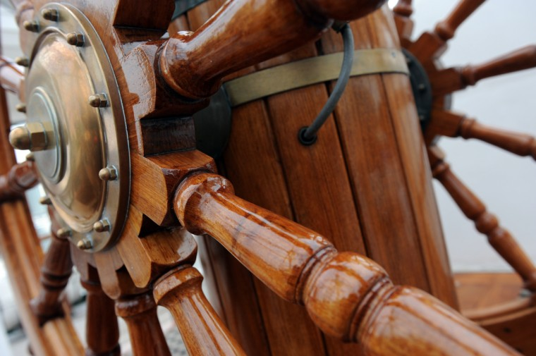 The brass and teak helm on the HNoMS Statsraad Lehmkuhl, a training vessel for the Norwegian Navy. Kim Hairston/Baltimore Sun
