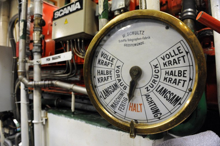 A ship's telegraph in the engine room of the HNoMS Statsraad Lehmkuhl, a training vessel for the Norwegian Navy. Kim Hairston/Baltimore Sun