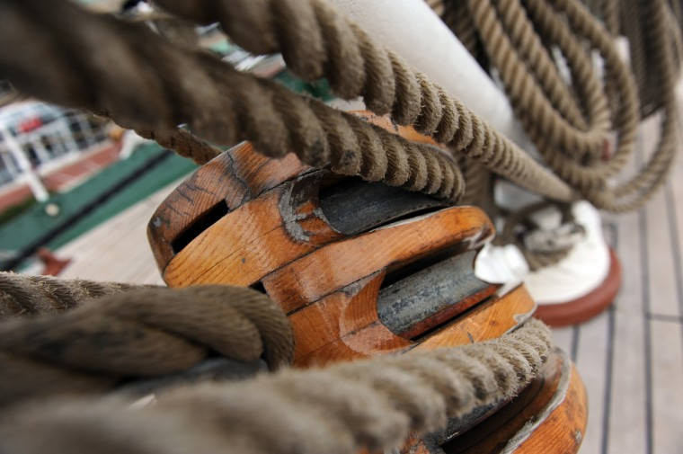 Block and tackle on the HNoMS Statsraad Lehmkuhl, a training vessel for the Norwegian Navy. Kim Hairston/Baltimore Sun