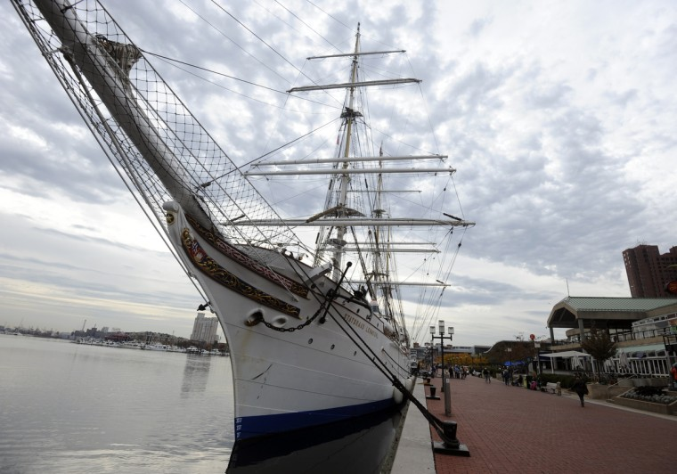 Sail Baltimore hosts the HNoMS Statsraad Lehmkuhl, a training vessel for the Norwegian Navy. The 100 year old 3-masted barque, the oldest and largest square rigged sailing vessel in Norway, is docked at the Inner Harbor's West Wall. Kim Hairston/Baltimore Sun