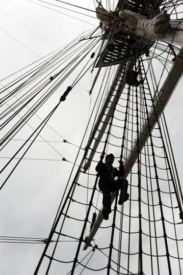Merchant Navy Cadets on the HNoMS Statsraad Lehmkuhl, a training vessel for the Norwegian Navy, climb the shrouds. Kim Hairston/Baltimore Sun
