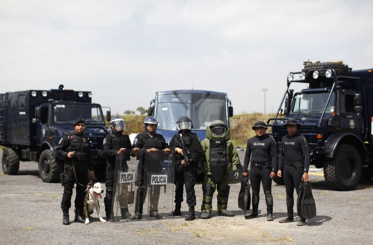 Members of the Task Force for Mexico City at their base in Mexico City
