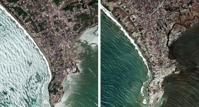 A combination of satellite images shows the coast of Meulaboh in Aceh province on Indonesia's Sumatra island on May 18, 2004 (L) and on January 7, 2005 after the Indian Ocean tsunami. At least 156,000 people were killed in the December 26, 2004 earthquake and tsunami -- 104,000 in Indonesia, more than 30,000 in Sri Lanka, 15,000 in India and more than 5,000 in Thailand. [Deaths were also reported in the Maldives, Myanmar, Bangladesh and several east African nations.]