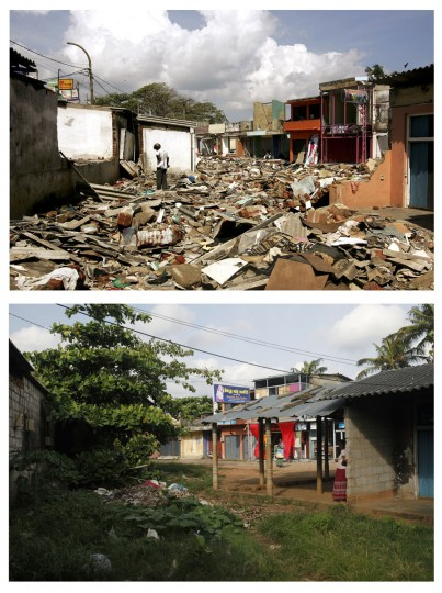 A combination photo shows (TOP) a man wandering around the rubble in the commercial centre of the town of Galle, southern Sri Lanka, on January 30, 2005 after it was flattened by the Dec 26 tsunami and a general view (BOTTOM) of a comercial area in Galle, south of Colombo October 6, 2009. (REUTERS/Desmond Boylan/Carlos Barria)
