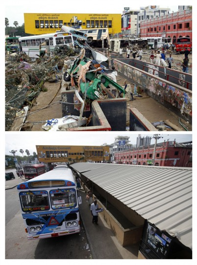 Combination photo shows (top) damaged buses piled up in a town square in Galle, Sri Lanka December 27, 2004 and (bottom) a general view of the bus station in Galle, south of Colombo Octiber 6, 2009. (REUTERS/Carlos Barria)