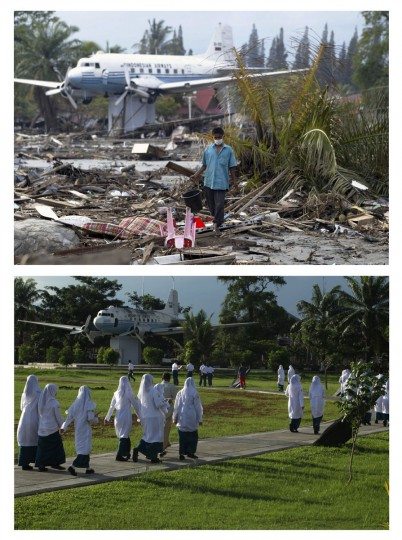 A combination photo shows (top) an Acehnese man walking on debris from the aftermath of the 2004 tsunami in the provincial Indonesian capital of Banda Aceh January 2, 2005, and (bottom) Acehnese students walking on a jogging track in the same area of Blang Padang park in Banda Aceh, December 5, 2009. Though confusion sometimes reigned among many aid groups with varying agendas, they built more than 140,000 homes, 1,700 schools, 996 government buildings, 36 airports and seaports, 3,800 houses of worship, 363 bridges and 3,700 km of road, according to Indonesian reconstruction agency (BRR) data. Pictures taken January 2, 2005 and December 5, 2009. (REUTERS/Kim Kyung-Hoon/Beawiharta)