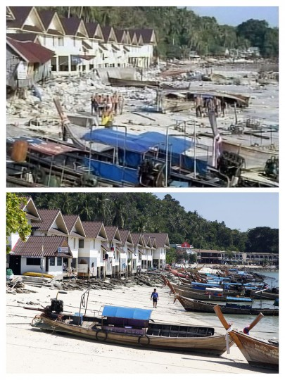 In this combo picture, foreign tourists are seen as they stretcher an injured person along a destroyed beach on Phi Phi island December 26, 2004 (top) and the same site nearly five years after, December 11, 2009. As the world prepares to mark the fifth anniversary of the tsunami that killed 226,000 people in 13 Asian and African countries, scars have yet to heal even after homes have been rebuilt, tourists have returned and foreign aid has ended. (REUTERS/Reuters TV (top) and Damir Sagolj)
