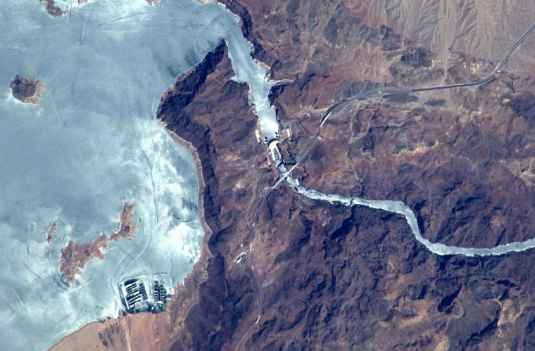 The Hoover Dam photographed on August 24. (Reid Wiseman/NASA)