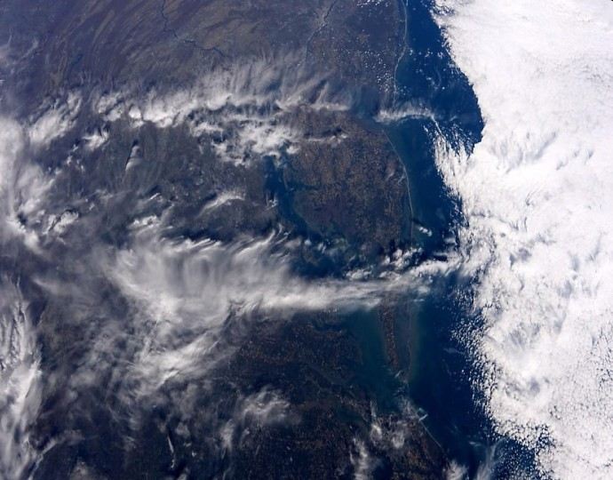 A picture taken over Maryland on October 24 in the afternoon. (Reid Wiseman/NASA)