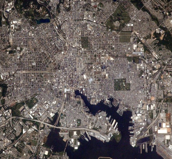 "On July 7, Wiseman soared directly over Baltimore in the space station and took this picture of downtown. He wrote in the tweet, ""Nice to fly over my hometown. Camden Yards clearly visible. Go Orioles."" (Reid Wiseman/NASA)"