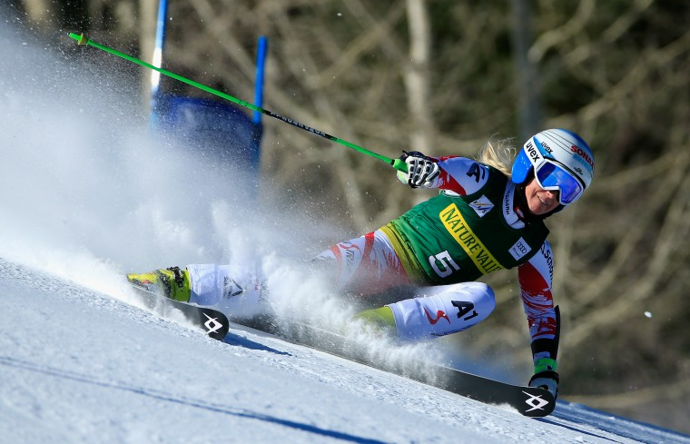 Eva-Marie Brem of Austria skis to first place in the the ladies giant slalom during the 2014 Audi FIS Ski World Cup at the Nature Valley Aspen Winternational at Aspen Mountain in Aspen, Colorado. (Doug Pensinger/Getty Images)
