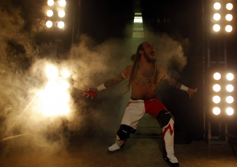 Wrestler Icarus arrives to the ring during the Hungarian wrestling Championship in Budapest. (Laszlo Balogh/Reuters)
