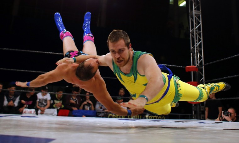 Hungarian wrestlers fight during the Hungarian wrestling Championship in Budapest. (Laszlo Balogh/Reuters)