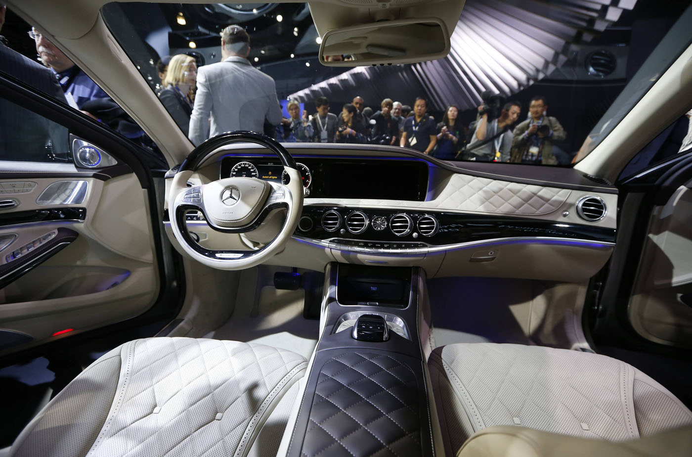 interior of the mercedes maybach s class is pictured during the models world debut at the los angeles auto show