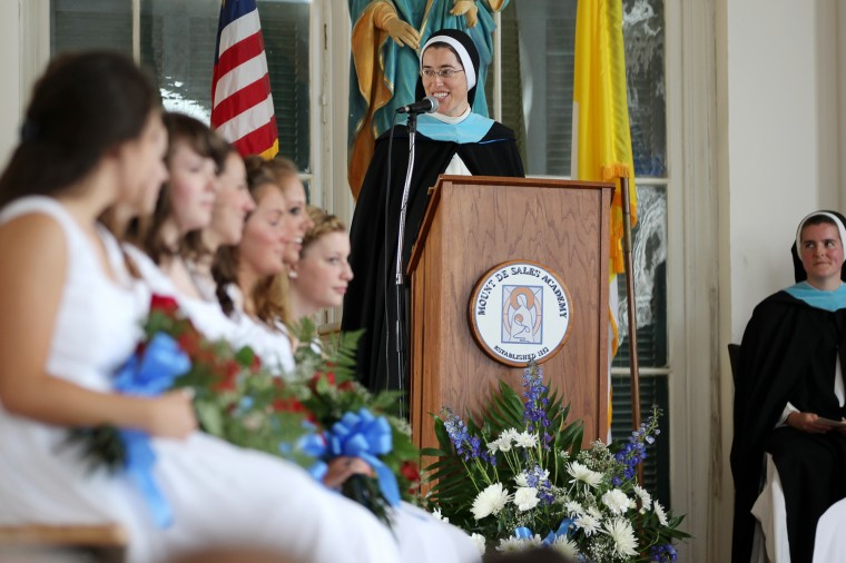 Mount de Sales Academy Principal Sister Anne Catherine Burleigh, O.P. speaks during Mount de Sales Academy's commencement in Catonsville on Saturday, May 26, 2012. (Jen Rynda/file photo)
