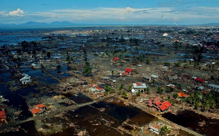 Aerial photos of Banda Aceh, revealing the scope of devastation Tuesday, Jan. 18, 2005 following a tsunami that swept through the town in December. (Karl Merton Ferron, Baltimore Sun)