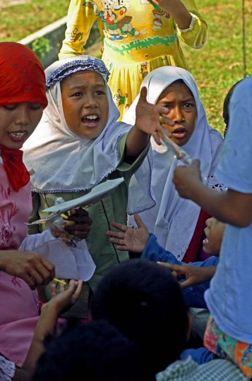 Humaira Puspitadewi, 11 confronts a boy whom she claims wasn't playing fair. (Karl Merton Ferron, Baltimore Sun)