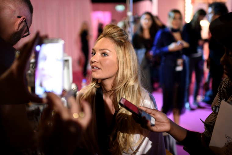 Victoria's Secret Candice Swanepoel is seen backstage prior the 2014 Victoria's Secret Fashion Show on December 2, 2014 in London, England. (Dimitrios Kambouris/Getty Images for Victoria's Secret)