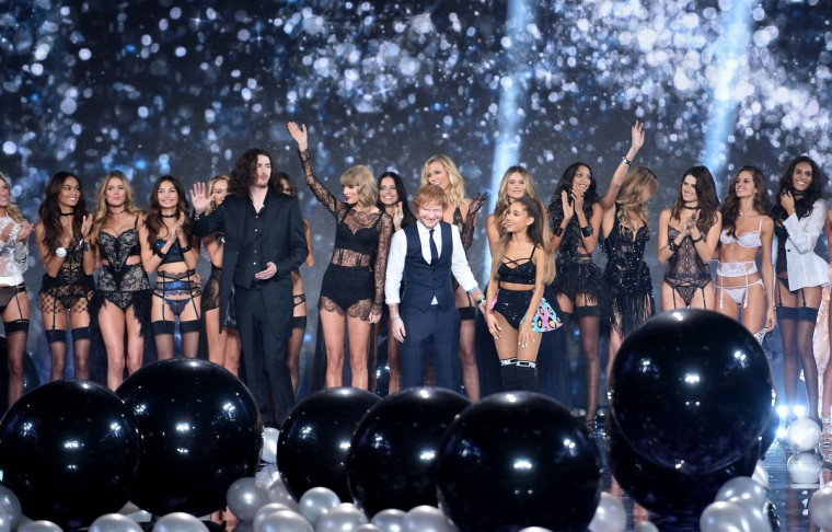 Hozier, Taylor Swift, Ed Sheeran and Ariana Grande with Victoria's Secret models on the runway during the 2014 Victoria's Secret Fashion Show at Earl's Court Exhibition Centre on December 2, 2014 in London, England.  (Dimitrios Kambouris/Getty Images)