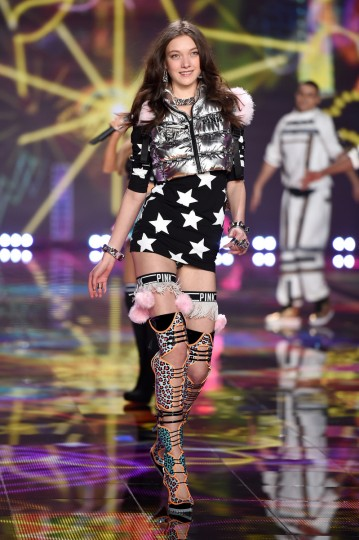Model Yumi Lambert walks the runway during the 2014 Victoria's Secret Fashion Show at Earl's Court Exhibition Centre on December 2, 2014 in London, England.   (Dimitrios Kambouris/Getty Images)