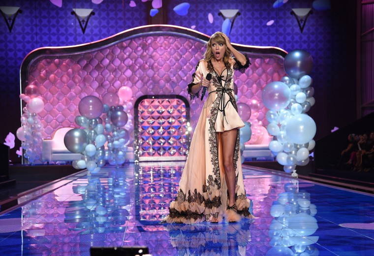 Singer Taylor Swift during the 2014 Victoria's Secret Fashion Show at Earl's Court exhibition centre on December 2, 2014 in London, England.  (Dimitrios Kambouris/Getty Images)