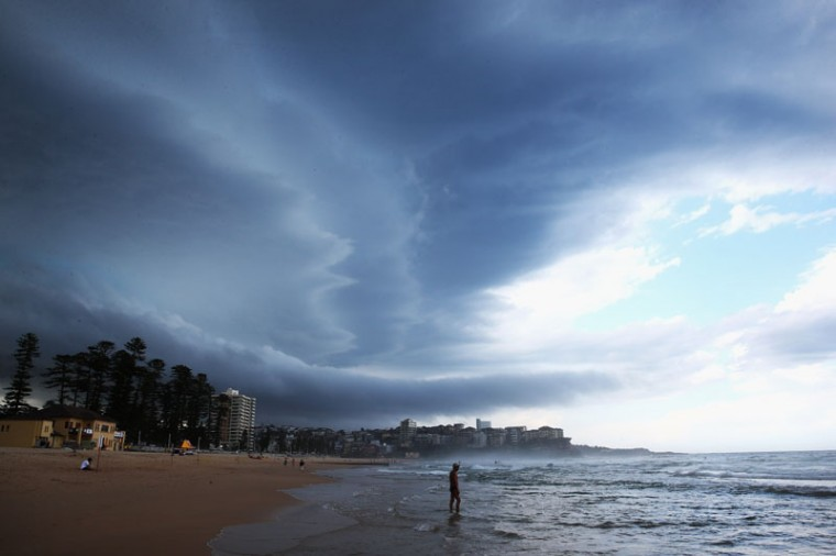 A large storm front moves over Manly Beach in Sydney, Australia. Storm conditions have hit residents of Sydney and surrounding areas over the past eight days which has brought hail, flash flooding and high winds. Meteorologists report that a stretch of consecutive severe weather for the start of summer has not been seen in the state for around a decade. (Cameron Spencer/Getty Images)