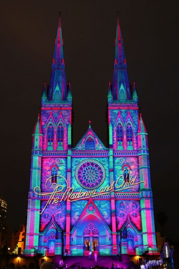 St Mary's Cathedral is illuminated as part of a Christmas lights display in celebration of Christmas on December 19, 2014 in Sydney, Australia. (Brendon Thorne/Getty Images)