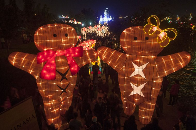 "People enjoy Christmas show ""Luminasia"", the biggest figures light show in Latin America, in Monterrey, Nuevo Leon, on December 13, 2104. (Julio Cesar Aguilar/AFP/Getty Images)"
