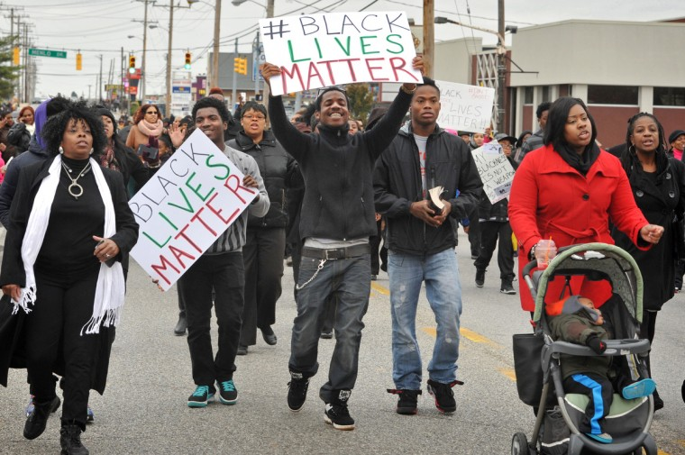 "More than 500 protesters marched from Empowerment Temple Church on Primrose Avenue north on Reisterstown Road to Reisterstown Road Plaza for ""Black Lives Matter Sunday."" (Amy Davis / Baltimore Sun)"