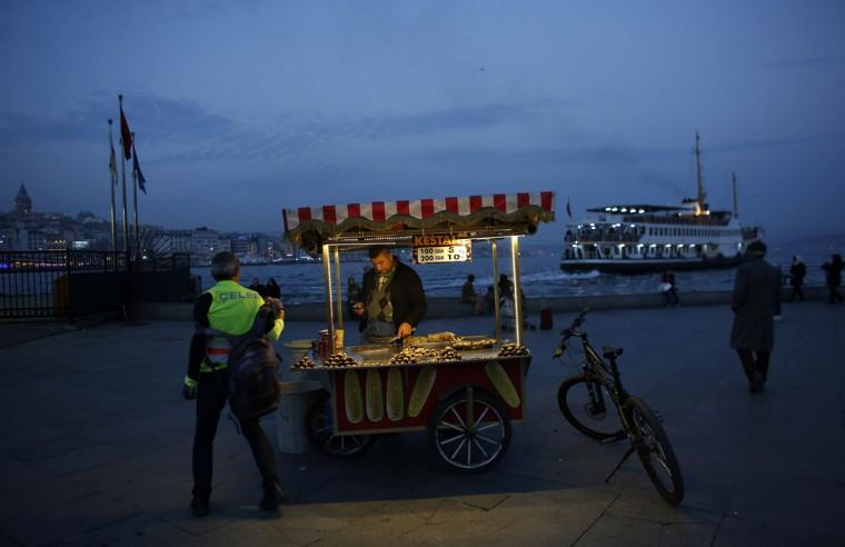 A street vendor sells roasted chestnuts at Eminonu pier in Istanbul December 16, 2014. (REUTERS/Murad Sezer)