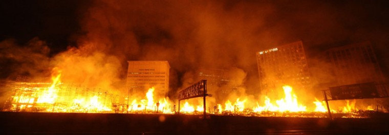 Flames spread from a massive fire at the site of a seven-story downtown apartment complex under construction in Los Angeles, California December 8, 2014. Over 250 firefighters battled the early morning blaze which shut down two major freeways, the Los Angeles Fire Department and California Highway Patrol said. (Gene Blevins/Reuters)