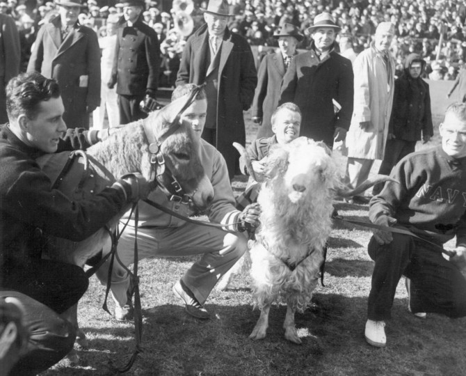 The Navy Goat and Army Mule are pictured at Baltimore Stadium on Dec. 2, 1944. (UM Libraries, Special Collections, News American Photo)