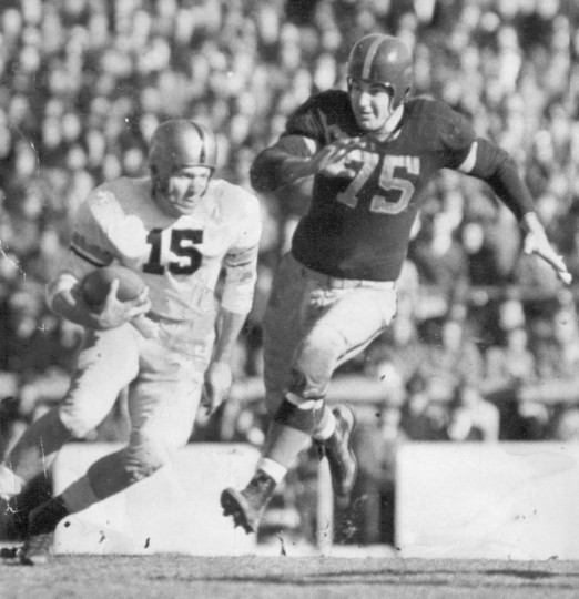 Army's Doug Kenna (15) returns a punt against Navy. (UM Libraries, Special Collections, News American Photo)