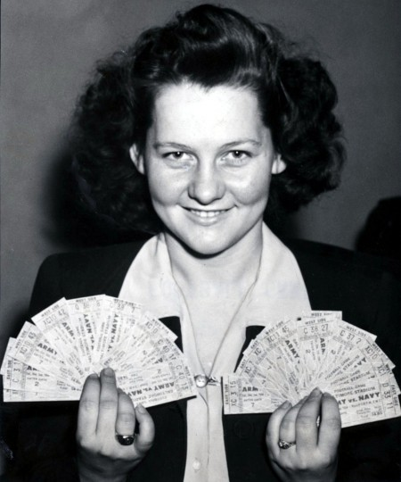 Grace McKay holds a handful of Army-Navy tickets on Nov. 27, 1944. (Baltimore Sun file photo)