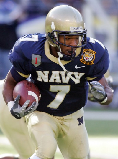 Navy's Reggie Campbell runs the ball against the Army Black Knights at M&T Bank Stadium. (Photo by Jim McIsaac/Getty Images)