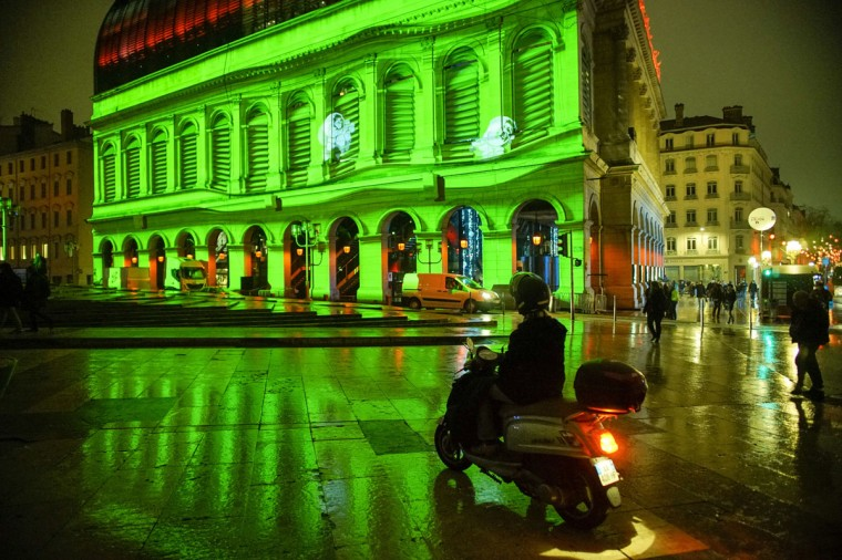View of The Anookis installation by artists Moetu Batlle and David Passegand at the Opera during the rehearsal for the Festival of Lights in central Lyon late in the night on December 4, 2014. (REUTERS/Robert Pratta)